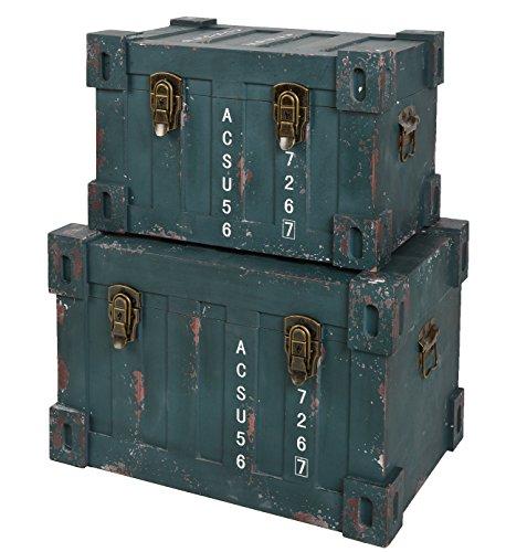 ts-ideen-2er-Set-Container-Industrie-Design-Grn-Kommode-Schrank-Aufbewahrungskiste-Box-Truhe-Holzkiste