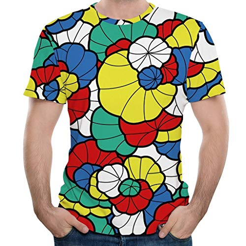 Men 3D Printed Funny T-Shirt Color Block Graphic Fashion Short Sleeve Crew Neck Casual Shirt Summer Pullover Tops(S,Yellow)