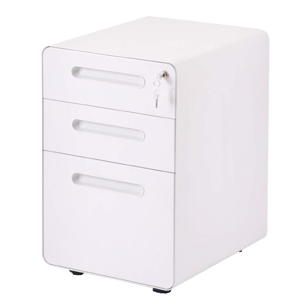 Merax File Cabinet Mobile 3 Drawer Metal Pedestal Filing Cabinets with Lock Key 5 Rolling Casters Fully Assembled for Home Office Hanging Folders A4 Letter Legal Size by Merax