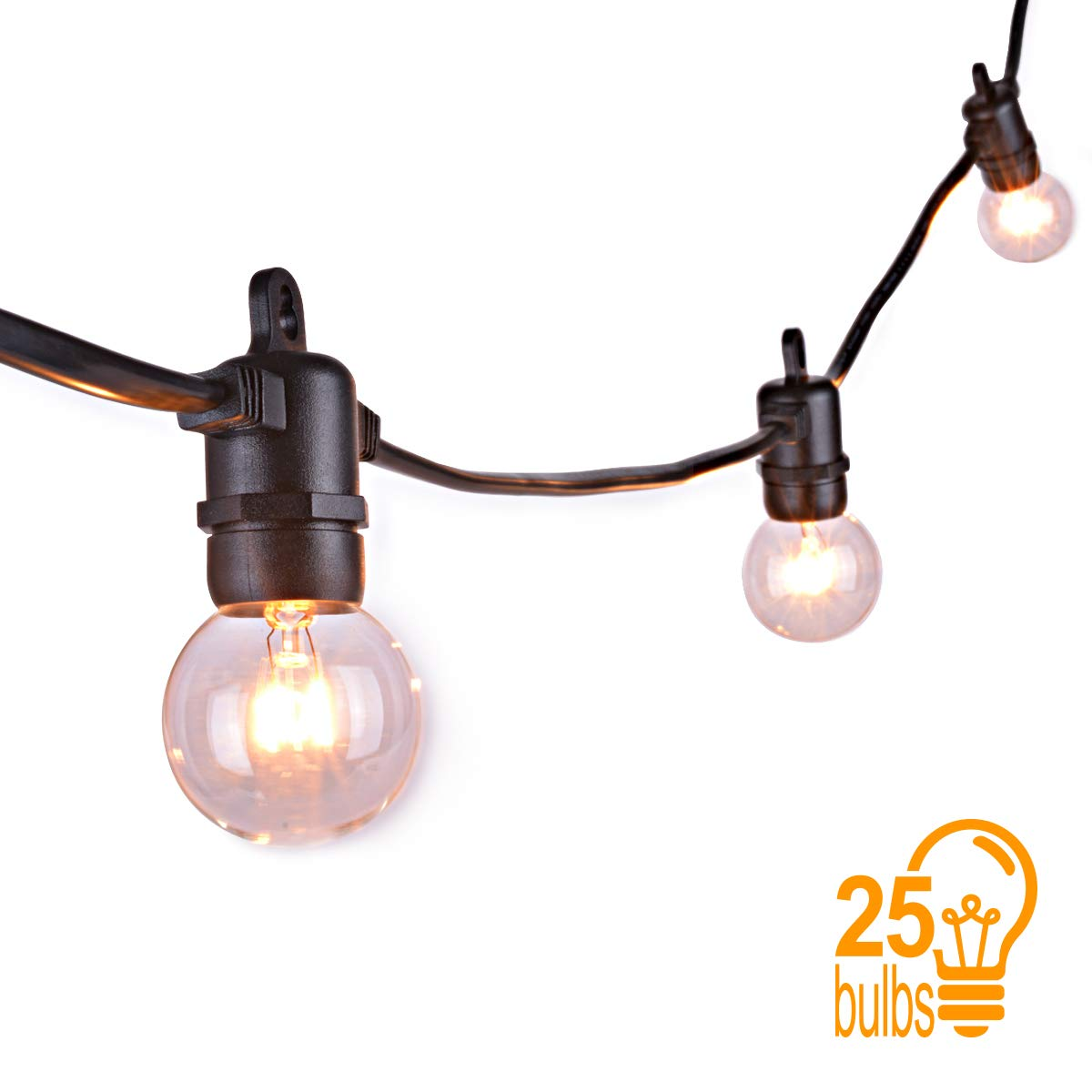 Guirnalda Bombillas Exterior Sunix - G40 Guirnaldas Luz Interior con 25 Bombillas Incandescentes Claras, Decorative String Luces de patio, para Great Garden ...
