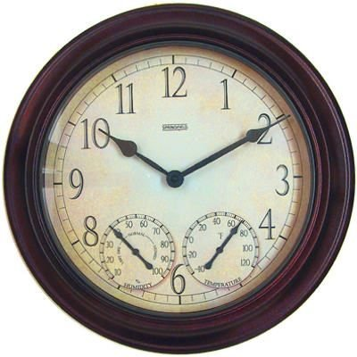 14 Inch Atomic Wall Clock (Springfield Outdoor Garden Clock with Thermometer and Hygrometer, 14-Inch)
