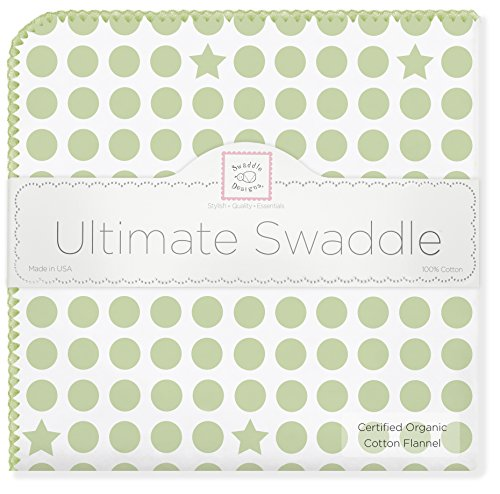 SwaddleDesigns Organic Ultimate Swaddle, X-Large Receiving Blanket, Made in USA Premium Cotton Flannel, Dots and Stars, Kiwi (Mom's Choice Award ()
