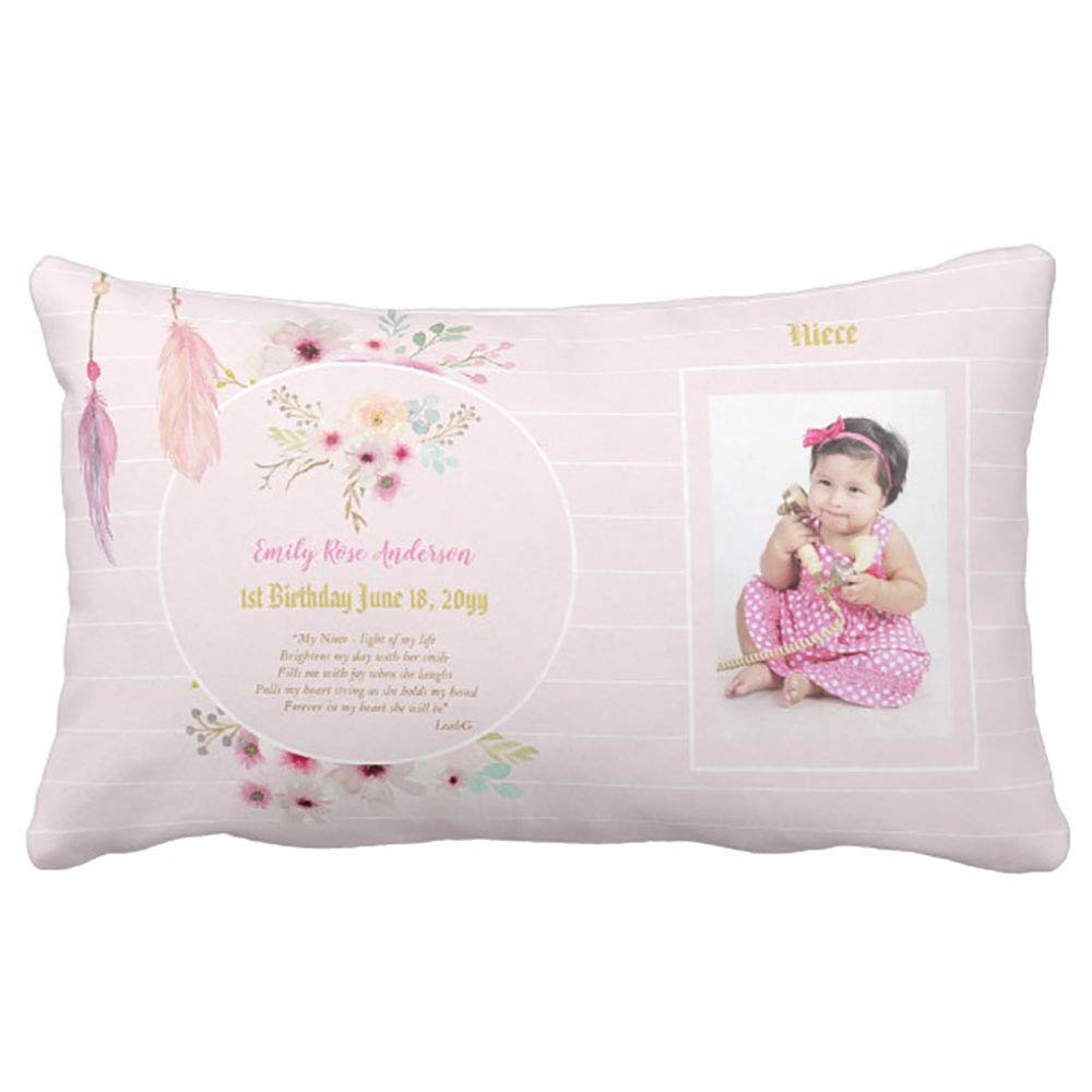 Yutoa Design Niece 1st Birthday Photo And Poem Gift Pillow Cover Sofa Home Decorative Throw Case Ideas Household Zippered Cushion Covers