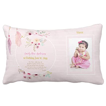 Yutoa Design Niece 1st Birthday Photo And Poem Gift Pillow Cover Sofa Home Decorative Throw