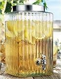 Home Essentials Home Essentials Del Sol Square Ribbed Glass Beverage Dispenser, 2.3 Gallon, , White