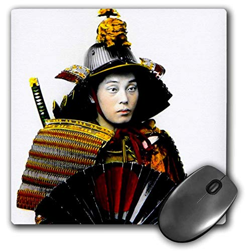3dRose Scenes from The Past Magic Lantern Slides - Japanese Samurai Warrior in Old Japan Vintage Hand Tinted - Mousepad (mp_246702_1) -