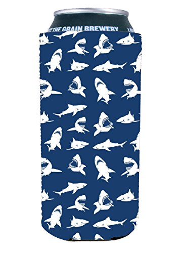 Coolie Junction Shark Pattern 16 oz.  Can Coolie