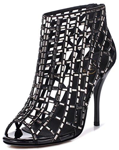 Lizform Femmes Découpe Sandales Bottes À Bout Ouvert Sandales Stiletto Dos Fermeture À Glissière Robe Chaussures Talons Hauts Bottes Noir4