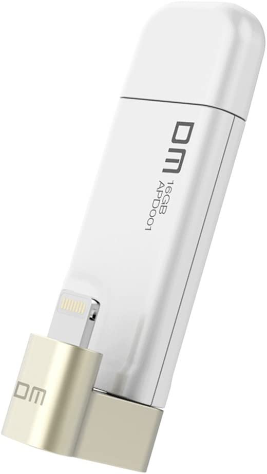 DM Usb Flash Drive 32GB Thumb drive for iPhone iPad, Lighting to USB 2.0 [Apple MFI Certified] (White)
