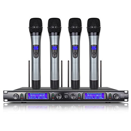 UHF Whole Metal Rocket Audio EW240 4 Channel Cordless Microphone System Wireless Microphone System 4 Mic by Xtuga