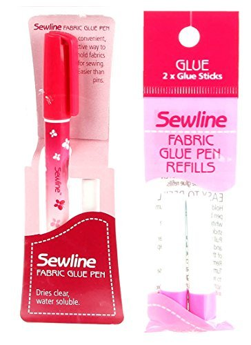 Bundle of Sewline Fabric Glue Pen(s) Blue, and Fabric Glue Pen Refill 2-Pack(s) Blue (1 Pen, 1 2-pack Refills) - Refills Pen Glue