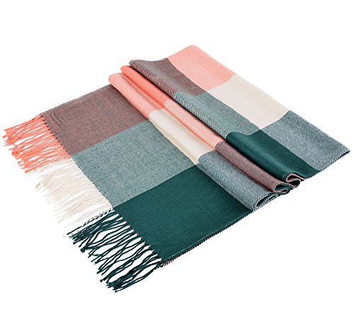 Luxina Large Tartan Scarf Plaid Blanket Shawl Winter Warm Pashmina for Women