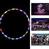 Onner Hula Hoop, Flashing LED Lighted Twist Hula Cosmic Glow Hoola Hoop for Adult Children, Light up Glow Hula Hoops 90CM