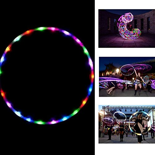 Onner Hula Hoop, Flashing LED Lighted Twist Hula Cosmic Glow Hoola Hoop for Adult Children, Light up Glow Hula Hoops 90CM by Onner