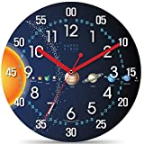 Happy Virus 2143 Teaching Time Wall Clock, Hour, Minute, Second Index, Large Font, 11'', Solar System