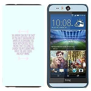 KLONGSHOP // Cubierta de piel con cierre a presión Shell trasero duro de goma Protección Caso - inspirador azul mensaje de motivación - HTC Desire Eye M910x //