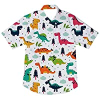 Enlifety Kids Boys Summer Button Down Shirt Hawaiian Aloha Holiday Short Sleeve Dress Shirts Tops 2-14 Years