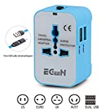 International Power Plug Adapter, Egeen Worldwide All in One Universal Travel Adapter,Free USB Cable (Support Android/Apple),Wall Charger,Dual USB Charging Ports/USA/EU/UK/AUS(Blue)