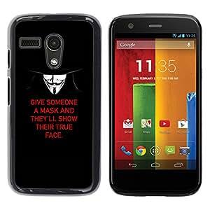 YOYOYO Smartphone Protección Defender Duro Negro Funda Imagen Diseño Carcasa Tapa Case Skin Cover Para Motorola Moto G 1 1ST Gen I X1032 - enmascarar la verdadera naturaleza la libertad profunda lucha