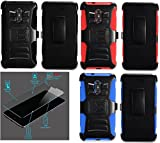 zte imperial ll phone cases - [ NP ARMOR ] GLASS Screen Guard Protector + Holster Case For ZTE Grand X Max 2 / Z988 / ZTE Max Duo 4G / ZTE Imperial Max / Kirk / Zmax Pro / Z981 Z962 Z962G Z962BL Z963VL Z963 Z963U (RED Holster)