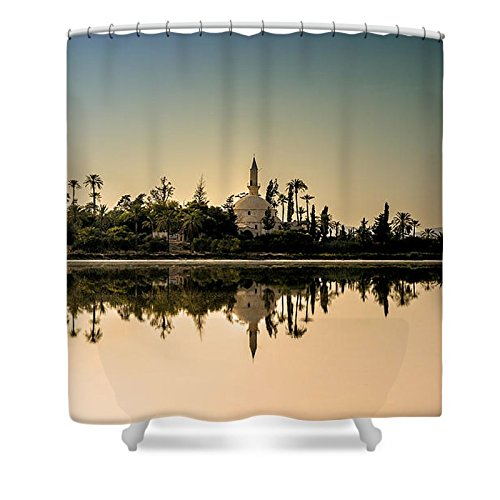Pixels Shower Curtain (74'' x 71'') ''Hala Sultan Tekke '' by Pixels