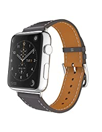 Apple Watch Band, MoKo Luxury Genuine Leather Smart Watch Band Strap Single Tour Replacement for 38mm Apple Watch Models, Quartz GRAY (Not Fit 42mm Version 2015)