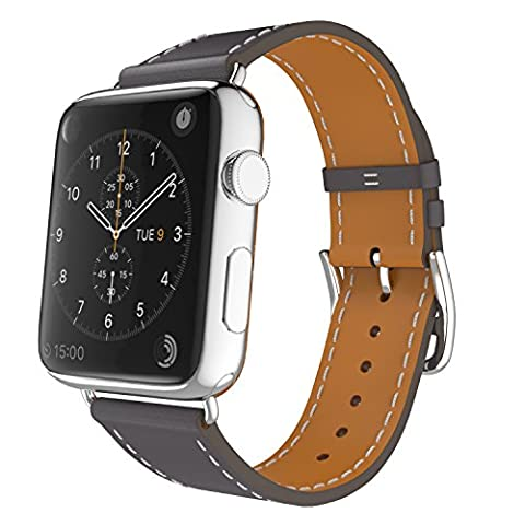MoKo Band for Apple Watch Series 1 Series 2, Luxury Genuine Leather Smart Watch Band Strap Single Tour Replacement for 42mm Apple Watch 2015 & 2016 All Models, Quartz GRAY (Not Fit 38mm