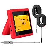 Bluetooth BBQ Thermometer, Wireless Barbecue Thermometer Digital Meat Temperature Monitor Food Meat Kitchen Cooking Remote Control Bluetooth Monitoring Device with Dual Probe for Smart Phone