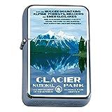 Silver Flip Top Oil Lighter Vintage Poster D-033 Glacier National Park