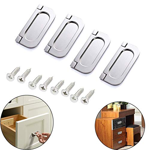Luckycivia 4 PCS Stainless Steel 3 inch Flush Pull Ring Handles 304, Hidden Recessed Furniture Grip, Boat Hatch Latch Drawers Cabinet Flush Ring Sliding Door Pull Handle, 3 x 1.4X 0.18inch (Silver)
