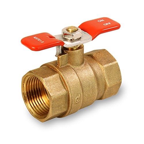 - Everflow Supplies 615T001-NL Lead Free Full Port IPS Threaded Ball Valve with Tee Handle, 1-Inch