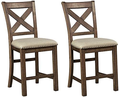 Signature Design by Ashley Moriville Counter Height Bar Stool, Beige