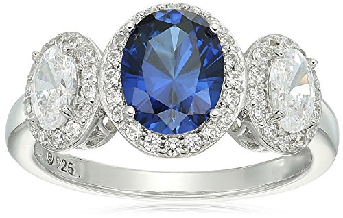 Platinum-Plated Sterling Silver Oval Shaped Created Blue Sapphire and Swarovski Zirconia 3 Stone Halo Ring, Size 8