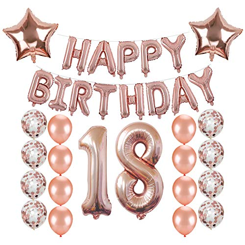 18th Birthday Decorations, Kwayi Rose Gold Balloon Birthday Supplies With HAPPY BIRTHDAY Letter, Large Number 18, Rose Gold Balloon And Confetti Balloon, Total 27PCS For Girl Birthday Party Supplies