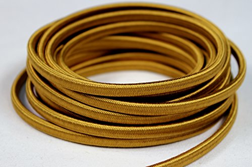 Creative Hobbies Gold Rayon Cloth Covered Wire, Antique Vintage Style Electrical Lamp Cord, 18/2 SPT-1 - 2 Wire Parallel Cord, 15 Feet (Cloth Wire Wrapped)
