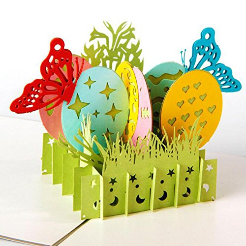 (AKOAK 13 x 15 Cm 3D Pop-up Greeting Card Handmade Laser Cut Vintage Cards Easter Eggs Creative Colorful Butterfly Greeting Cards)