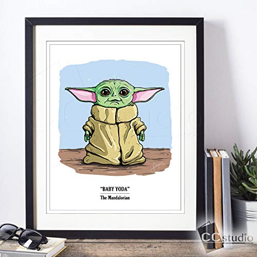 Baby Yoda Wall Art Print | Star Wars Art | Mandalorian | Home Decor | Unframed Art Print 8x10 or 11x14