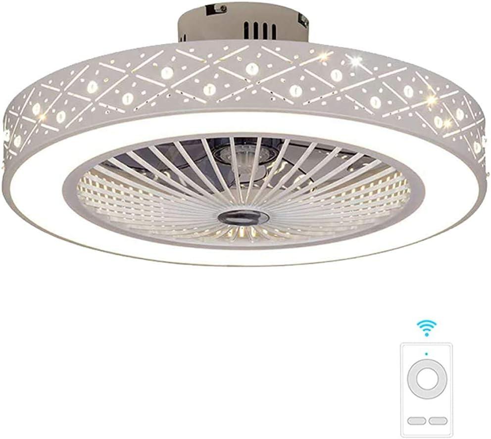 Ventilador de techo, luces de LED con control remoto lámpara moderna sala de estar, simple techo techo creativo, Blanco - diámetro 56 cm,B