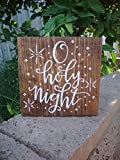 PotteLove O Holy Night Sign Christmas Sign Christmas Decor Rustic Decor Holiday Decor