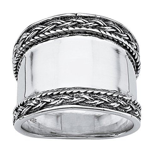 Seta Jewelry .925 Sterling Silver Braided Edge Cigar Band Style Ring