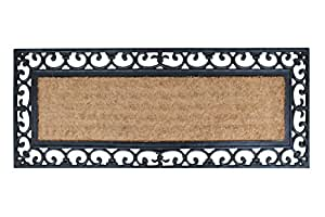 """A1 HOME COLLECTIONS Myla Rubber and Coir Molded Double Doormat, 17.71""""x47.25""""(RC2004)"""
