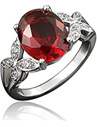 """My Vow 18K White Gold Plated Cubic Zirconia Eternity Ring, Gifts for Women Girls (Deep Red, 7)"