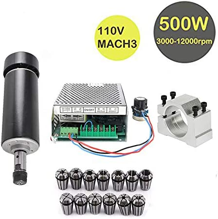 Konmison 1Set Mini CNC Lathe Air Cooled 500W Spindle Motor CNC 0.5KW with 52mm Clamps and 110V Mach3 Power Converter Spindle 13pcs ER11