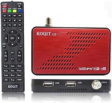Koqit U2 Receptor Satélite DVB S2 HD, con IPTV M3U y Antena WiFi