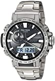 Watches : Casio Men's PRO TREK Quartz Sport Watch with Titanium Strap, Silver, 22 (Model: PRW-60T-7ACR)