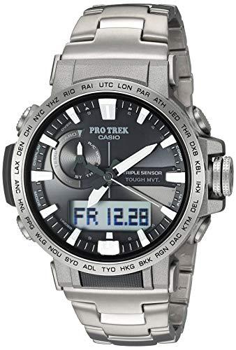 Casio Men's PRO Trek Stainless Steel Quartz Sport Watch with Titanium Strap, Silver, 22 (Model: PRW-60T-7ACR)