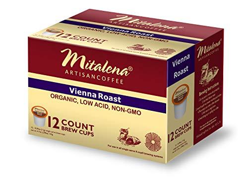 Mitalena Vienna Roast Organic Arabica Low Acid Coffee 72 ct K-cup (6 packs of 12 ct) -