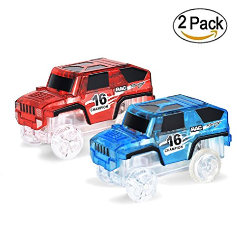 Car Tracks(2-Pack),4 LED Flashing Lights,Glow in the Dark Compatible with Most Tracks(Blue+Red)