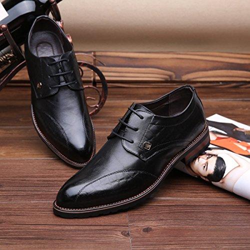 GRRONG Zapatos De Cuero De Los Hombres De Negocios De Ocio Acentuadas Negro Marrón Black