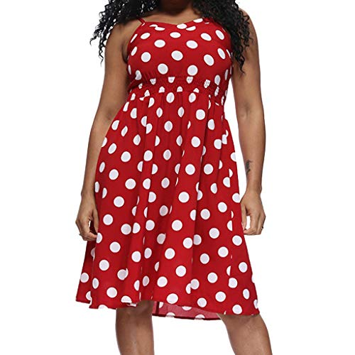 JULYKI Women Polka Dot Dresses Flowy Sleeveless Dress Casual Spaghetti Party Dress (L,Red)]()